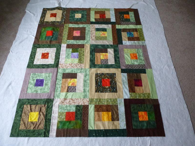 Green Brown square in a square flimsy