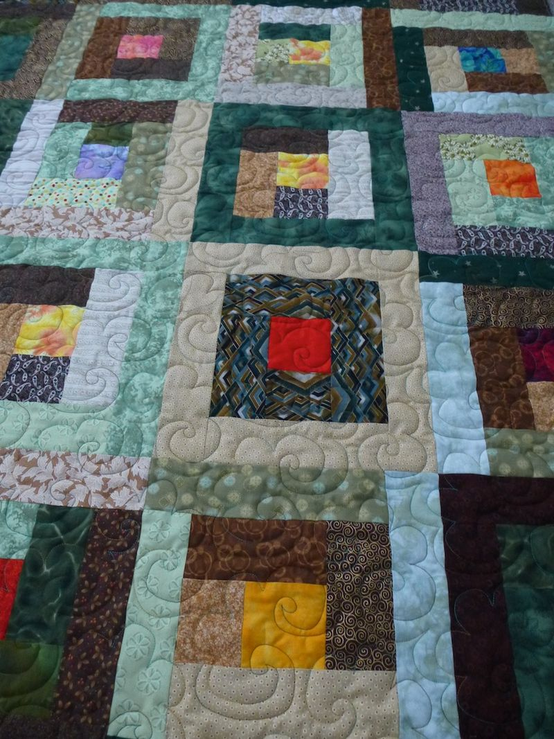 Green Brown Charity Quilt detail