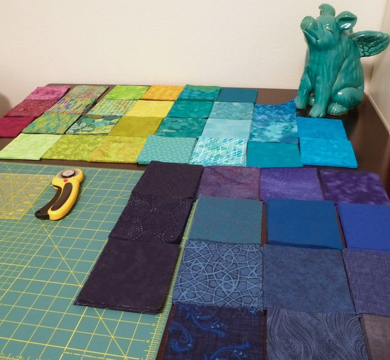 Rectangles ready to pair up for Fractured Quilt