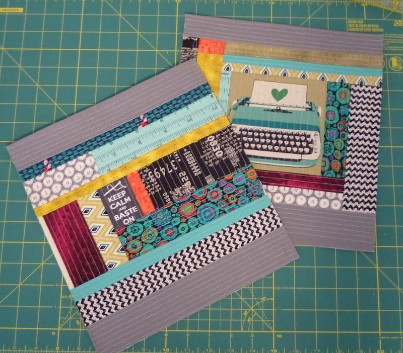 Back and front QAYG pieces for Perfect Zip Pouch