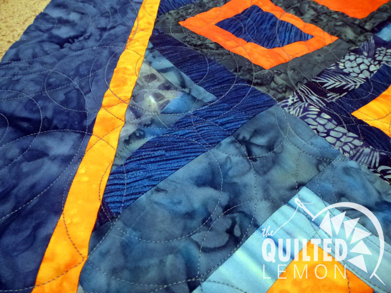 Blue Orange quilt front detail