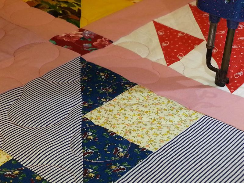 Closeup of meander quilting