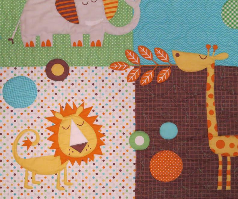 Minkee panel baby quilt detail