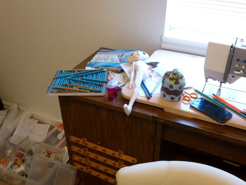 Messy sewing table