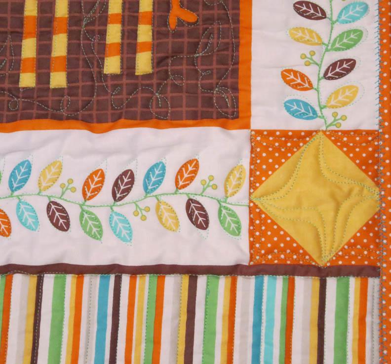 Minkee baby quilt top detail