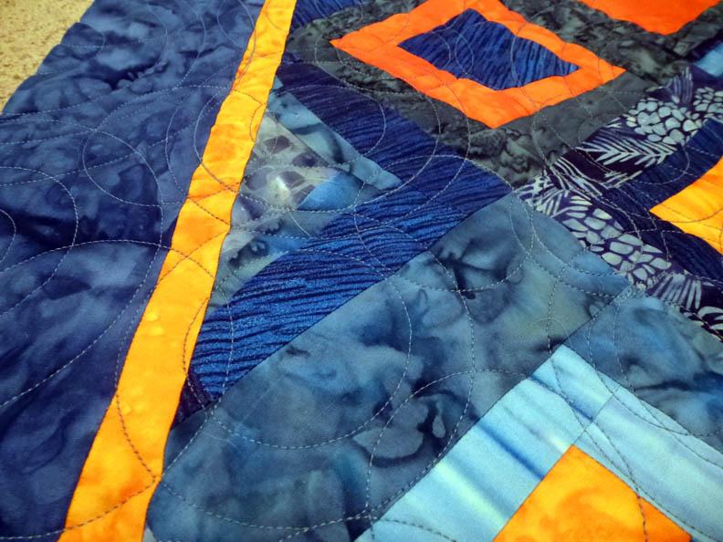 Blue Orange quilt front detail