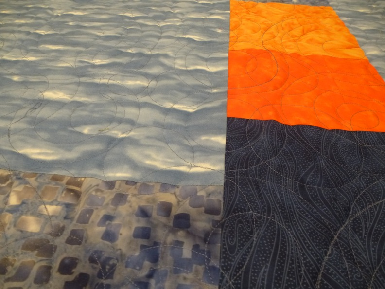 Blue Orange Quilt Back detail