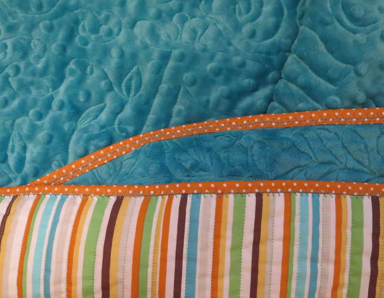 Minkee baby quilt binding