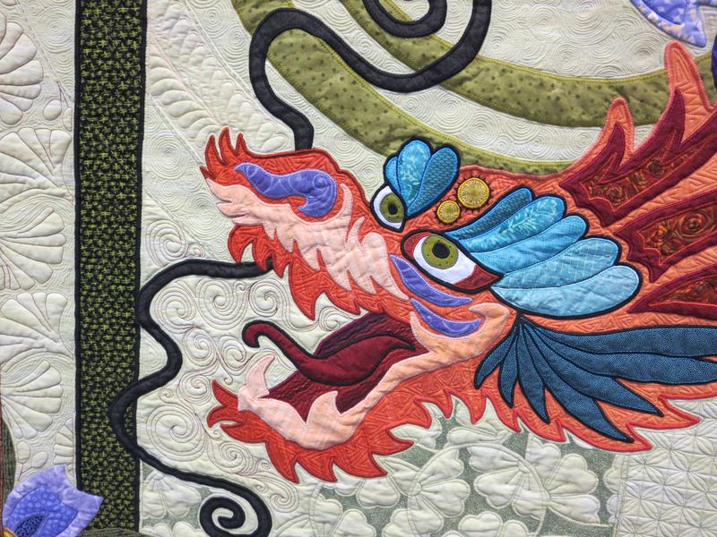Detail from The Quilt with the Dragon Tattoo by Nancy Arseneault