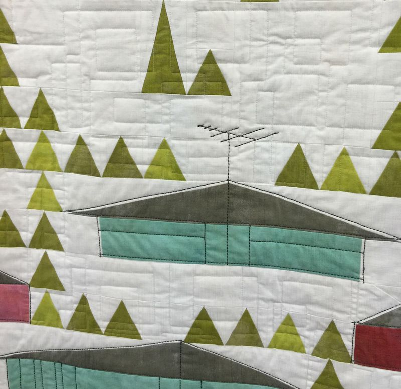 Detail of Eichler Homes by Mickey Beebe quilted by Tami Levin
