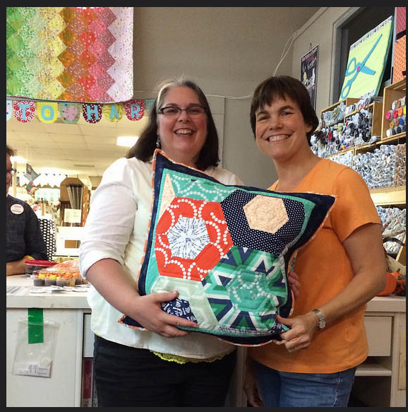 Tami and Heidi with Quilted Pillow