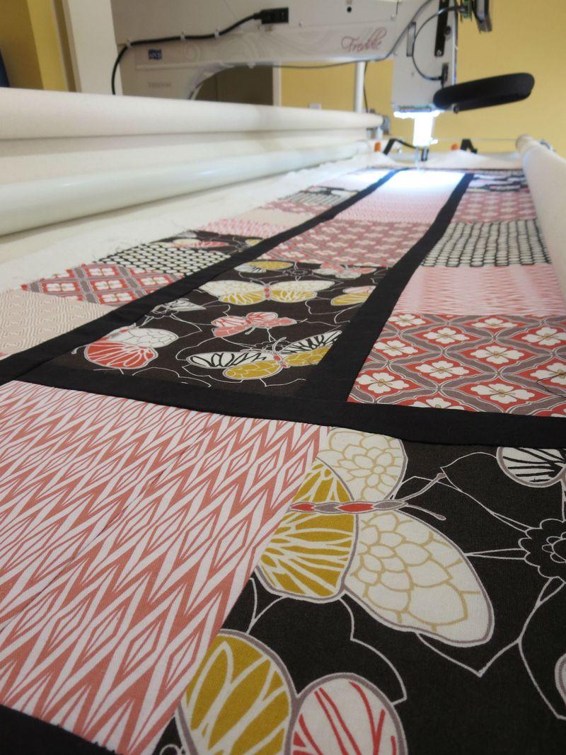 Emperors Garden quilt on frame