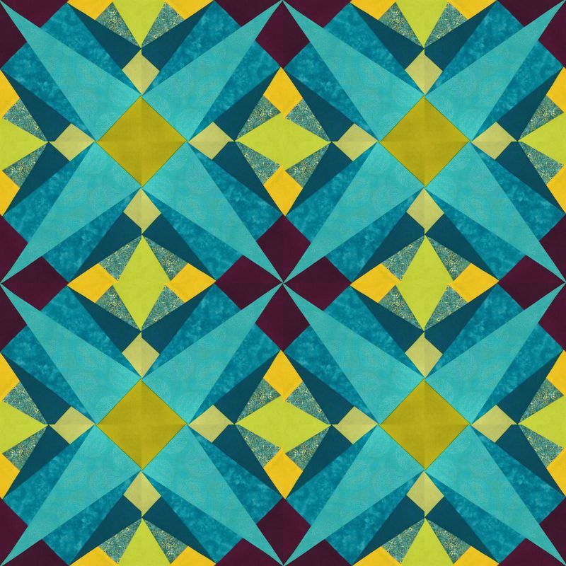 16 Folded Quilt blocks in PicFrame collage