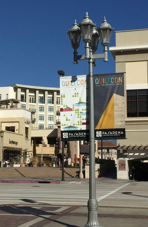 QuiltCon banner in Pasadena
