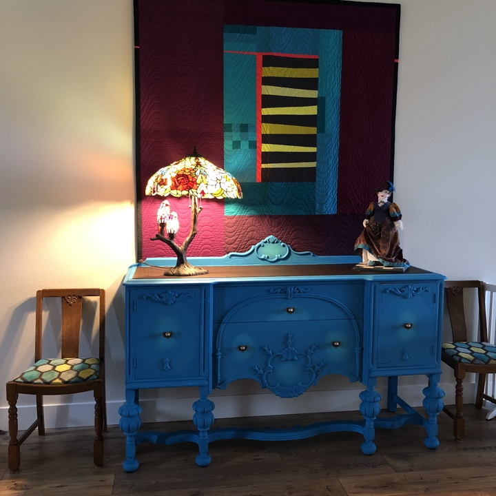Entryway light and buffet table